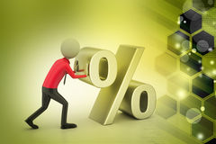 3D teken van mensen duwende percenten Stock Foto's