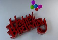3d tekst-gelukkige Verjaardag Royalty-vrije Stock Afbeeldingen