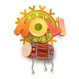 3D tekst met trommel voor Holi-Festivalviering Stock Afbeelding