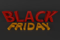 3D Tekst van Black Friday het 3d teruggeven Stock Afbeelding