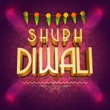 3D tekst voor Gelukkige Diwali-viering Stock Afbeelding