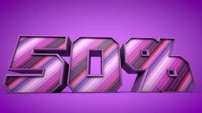 50% 3d teksta purpurowa ilustracja Fotografia Stock