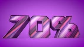 70% 3d teksta purpurowa ilustracja Zdjęcia Stock
