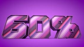 60% 3d teksta purpurowa ilustracja Fotografia Royalty Free
