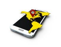 3d telefon i pastylka na białym tle Fotografia Royalty Free