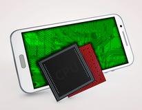 3d telefona ao processador central em um fundo branco Imagens de Stock