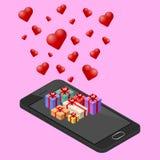 3d telefono cellulare isometrico, tecnologia di nuovo Smart Phone con molti presente nel tema di giorno del ` s del biglietto di  Immagini Stock