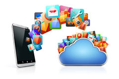 3d telefonu komórkowego i chmury apps Fotografia Royalty Free