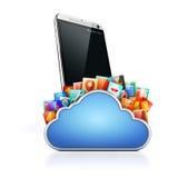 3d telefonu komórkowego i chmury apps Zdjęcie Royalty Free