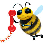 3d Telephone bee. 3d render of a bee answering the phone Stock Image