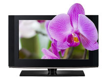 3D televisie. TV LCD in 3D HD. Stock Afbeelding