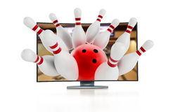 3D television with bowling pins. Going out of the screen Royalty Free Stock Photos