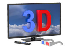 3D television and 3D glasses Stock Images