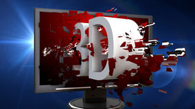 3d television. 3d design. 3d extrude text and explosion effect Stock Photos