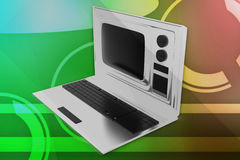 3d television laptop illustration Royalty Free Stock Image