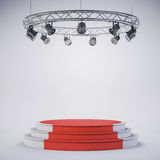 3d template of empty podium stage. 3d template of blank empty podium stage Stock Photo
