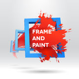 3D template with out of frame brush stroke Royalty Free Stock Photo