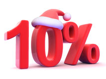 3d Ten percent symbol wearing a Santa Claus hat Stock Photography