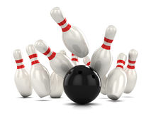 3d Ten pin bowling strike Stock Photos