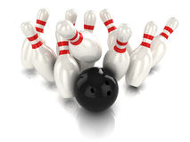 3d Ten pin bowling strike. 3d render of a bowling ball hitting the pins Stock Photography