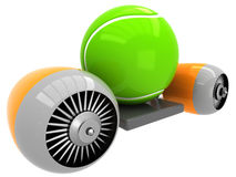 3D Tennis ball on flying engine Stock Photos