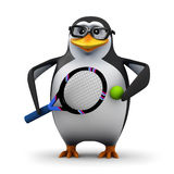 3d Tennis pro penguin Royalty Free Stock Photography