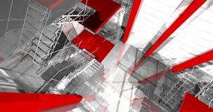 3d teren. Nowożytny przemysłowy wnętrze, schodki, czyści przestrzeń w ind Zdjęcie Stock