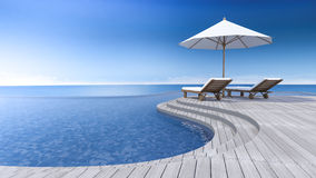 3d terrace sea view Royalty Free Stock Photos