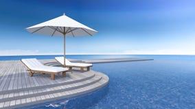 3d terrace sea view Royalty Free Stock Photos