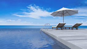 3d terrace sea view Royalty Free Stock Photo