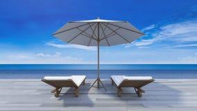3d terrace sea view Stock Images