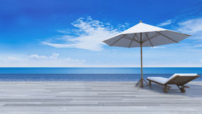 3d terrace sea view Royalty Free Stock Photography