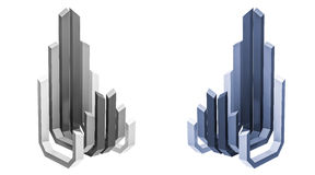 3d teruggegeven, abstract de bouwembleem, perspectiefmening Royalty-vrije Stock Foto
