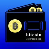 3D teruggegeven Bitcoin keurde hier conceptenillustratie goed royalty-vrije illustratie
