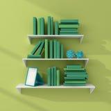 3d teruggegeven boekenrekken Stock Afbeelding