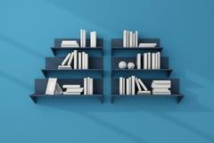 3d teruggegeven boekenrekken Royalty-vrije Stock Afbeeldingen