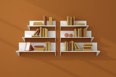 3d teruggegeven boekenrekken Stock Fotografie