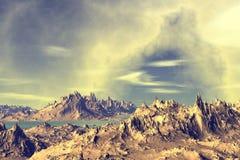 3d teruggegeven fantasie vreemde planeet Stock Fotografie
