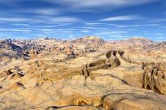 3d teruggegeven fantasie vreemde planeet Rotsen en hemel Royalty-vrije Stock Foto's