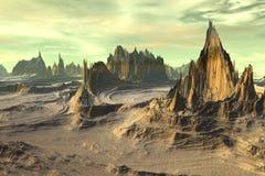 3d teruggegeven fantasie vreemde planeet Rotsen en hemel Stock Foto