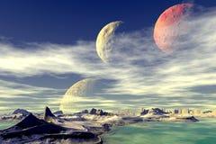 3d teruggegeven fantasie vreemde planeet Rotsen en maan Stock Afbeelding