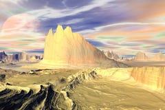 3d teruggegeven fantasie vreemde planeet Rotsen en maan Royalty-vrije Stock Fotografie