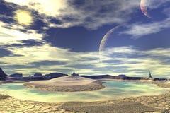 3d teruggegeven fantasie vreemde planeet Rotsen en maan Royalty-vrije Stock Afbeeldingen