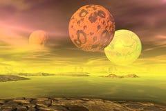 3d teruggegeven fantasie vreemde planeet Rotsen en maan stock illustratie