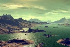 3d teruggegeven fantasie vreemde planeet Rotsen en meer Royalty-vrije Stock Afbeeldingen