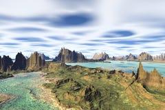 3d teruggegeven fantasie vreemde planeet Rotsen en meer Stock Foto's