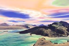 3d teruggegeven fantasie vreemde planeet Rotsen en meer Royalty-vrije Stock Foto's