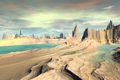 3d teruggegeven fantasie vreemde planeet Rotsen en meer Royalty-vrije Stock Foto