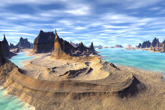 3d teruggegeven fantasie vreemde planeet Rotsen en meer Stock Afbeeldingen