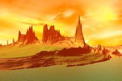3d teruggegeven fantasie vreemde planeet Rotsen en meer Stock Afbeelding